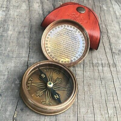 Nautical Antique Brass Pocket Compass Maritime King Poem Compass With Case Gift