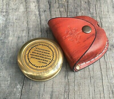 Brass Antique Nautical Brass Working Compass With Leather Case Marine Compass G