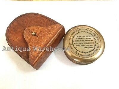 Nautical Pocket Compass Antique Brass Working Compass With Leather Case Gift