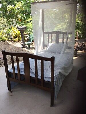 Solid Silky Oak Timber Antique Bed With Tester