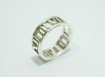 Tiffany & Co. Sterling Silver Atlas Open Roman Numeral Band Ring Size 6.5