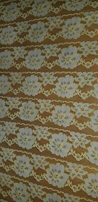 """Vintage Handmade Lace Rectangle Tablecloth 66"""" x 85"""" White Yellow Flower Floral"""