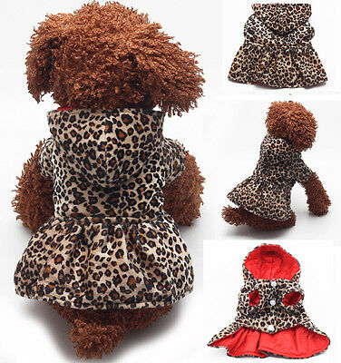 Dog Cat Princess Two Sides Leopard Coat Clothes Puppy Hoodie Warm Pet Dress