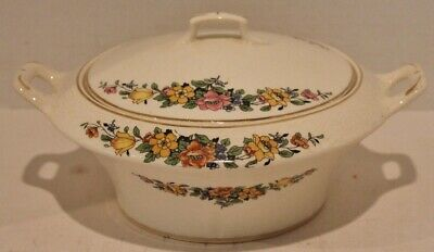 "VTG Ivora-FLOWERS,GOLD TRIM-CROOKSVILLE CHINA-Vegetable Bowl w/Lid-8 1/2""-1930's"