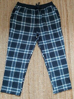 Mens PJ pyjama BOTTOMS lounge Pants size 2XL XXL blue check NEW