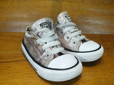 Infants Converse Silver Sparkly Casual Trainers UK 6K EU 22 Ideal Xmas Present
