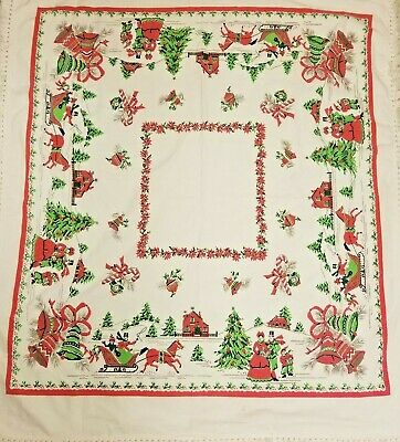 """Vintage Cotton Christmas Tablecloth 48"""" x 44"""" Sleigh Ornaments Bells Carolers"""