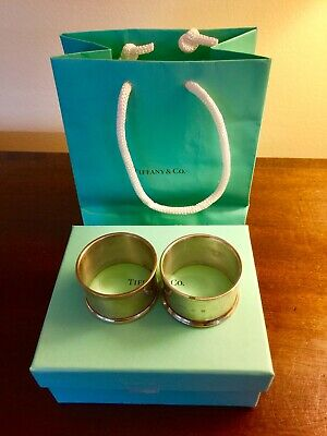 Antique Tiffany Set Two Sterling Napkin Rings Not Monogrammed