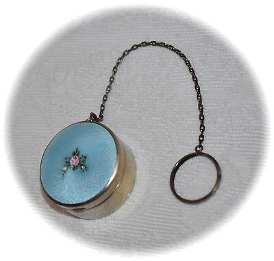 Gorgeous Antique STERLING Aqua *ENAMEL GUILLOCHE* Compact by ~R. BLACKINTON~