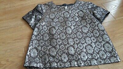 Girls NEXT Taupe & Silver Short Sleeved Top Age 12 - Pre-owned