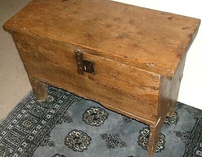 Antique Pine Chest, Blanket Box, Coffer, Early 18Th Century