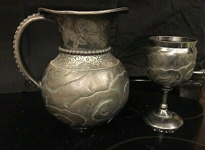 Derby Quadruple Silverplate Pitcher and Goblet Chalice, #2042 19th century
