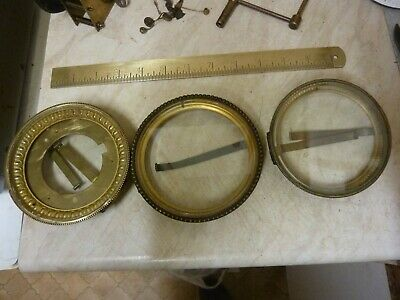 3 Antique French Clock Bezels-Glasses -- Free Post