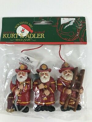 Kurt Adler Fireman Firefighter Three Santas Christmas Ornament, New In Package