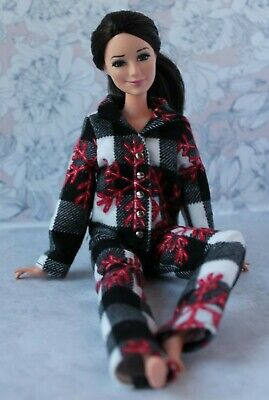 №314 Clothes for Barbie Doll. Flannel Pajamas for Dolls.