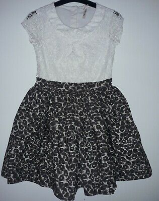 10.  Girls 8 Years Next Party Dress Cream And Leopard Print