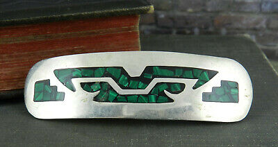 Vintage Mexico 925 Green Inlaid Sterling Silver Hair Barrette