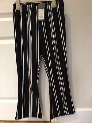 New Look Girls Black Stripe Cropped Flare Trousers. Age 10-11. New Tagged