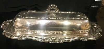 Vintage Silver Plate Covered Butter Dish and Glass Insert, Undated