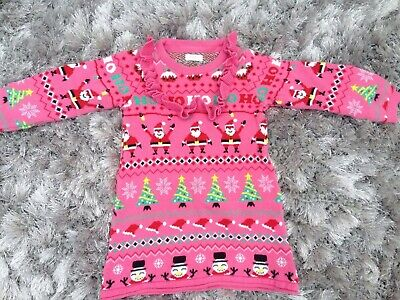 Next Girls Pink Xmas Jumper Dress Age 2-3 Years Worn Once