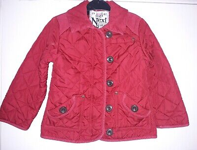 34. Girls 5-6 Years Next Thick Red Quilted Barbour-Style Jacket