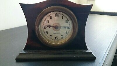 Edwardian German Mercedes Wooden Mantle Clock
