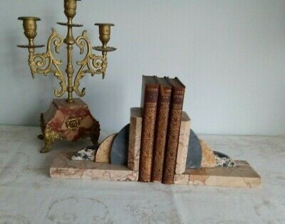 Pair Of French Vintage Art Deco Style Marble Bookends
