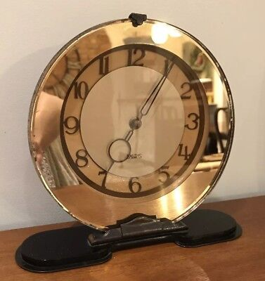 Antique Art Deco Smiths English Clock Mirrored 8 Day Mantel Wind Up Retro Vintag