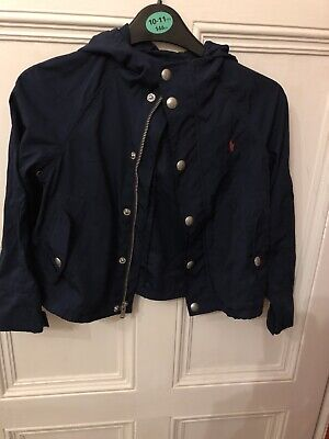 Girls Blue Genuine Polo Ralph Lauren Rain Mac Jacket Age 6