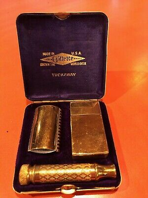1920's Gillette Gold Plated Tuckaway Razor 7 new blades Good condition!