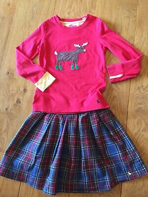 Joules Checked Pleated Kilt Skirt & Reindeer Ruldolph Top Christmas Outfit 7-8 Y