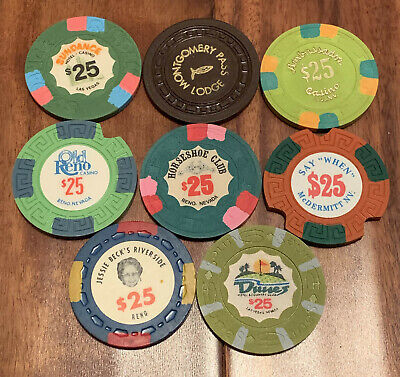 Lot of 8 Vintage Nevada $25 Casino Chips - Book $145-$190 - Blowout Deal !!!