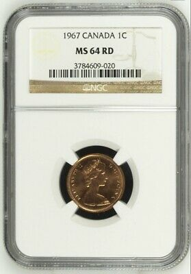 1967 Canada One Small Cent 100th Anniversary of Confederation NGC MS64 RED Coin