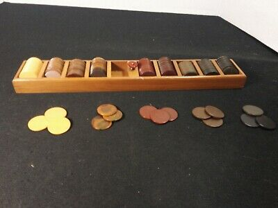 177 Vintage Bakelite Poker Chips 5 Colors Black Brown Red Swirl Butterscotch