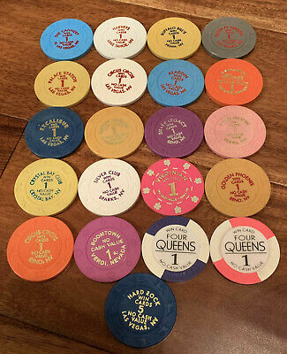 """Lot of 21 Different Vintage Nevada """"Win Cards"""" Casino Chips - Blowout Deal !!!"""