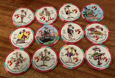 Set of 12 Vintage Flamingo Laughlin Nevada $5 Casino Chips - Blowout Deal !!!!