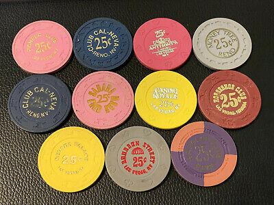 Lot of 11 Diff Vintage Nevada 25c Casino Chips from all over #3 - Book Avg $85+