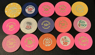 Lot of 15 Nevada 50c Casino Chips - Average Book = $75+ - Blowout Deal #1
