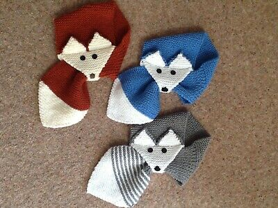 Handknitted Novelty Scarf.fox Style In Blues And White.toddler.