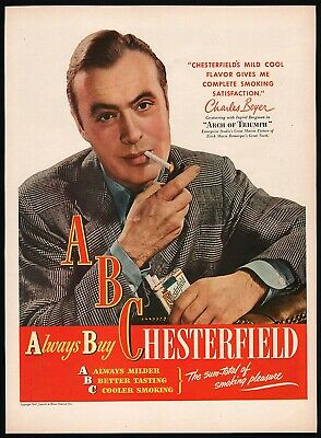 Vintage magazine ad ABC CHESTERFIELD cigarettes from 1947 Charles Boyer pictured