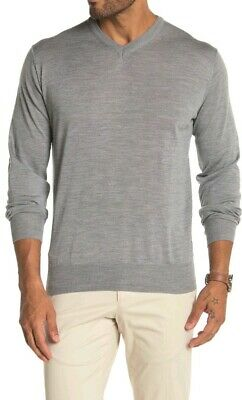 Peter Millar Merino Wool Blend V-Neck Sweater Grey Argento L $298 GREAT GIFT!