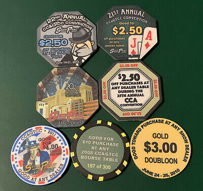 Lot of 7 -  CC & GTCC Convention Special Scrip Chips - Some Very Hard to Find !!