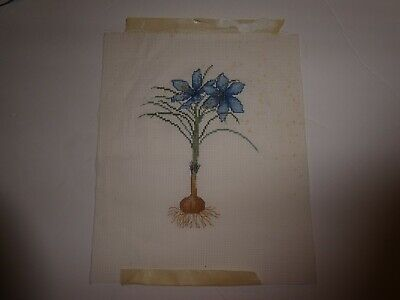 """Vintage Hand Embroidered & Cross stiched Picture little church on board 8"""" x 10"""""""