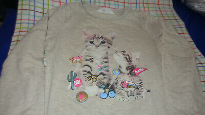 H&M KIDS Girls Size 8-10Y Long Sleeve Hi Low Crop Tops LIGHT SWEATSHIRTS CATS