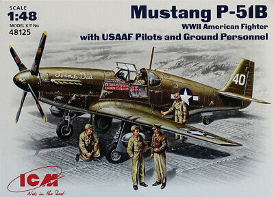 ICM 48125-1:48 Mustang P-51 B WWII American Fighter with  USAAF Pilots and Gro
