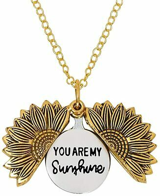 LIAOWY You are My Sunshine Engraved Necklace Sunflower Locket Necklace Pendant