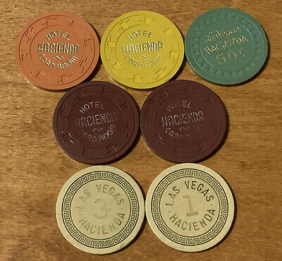 Lot of 7 - Hacienda Hotel Casino Chips - Las Vegas 1950-60 - Book $280-$400