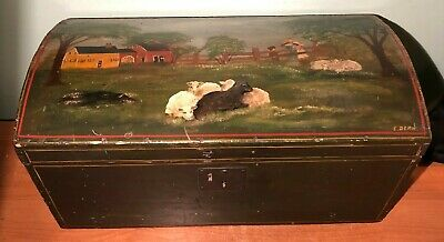 ANTIQUE 1800's DOME TOP TRUNK SIGNED FOLK ART FARM SCENE PAINTING TOP- SHEEP
