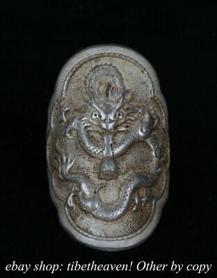 4cm Old Chinese Miao Silver Dynasty Palace Dragon Loong Luck Ring Rings