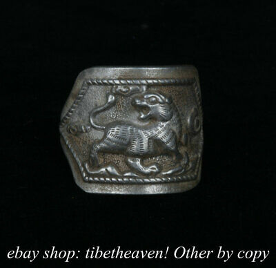 2.5cm Old Chinese Miao Silver Dynasty Palace God Beast White Tiger Ring Rings